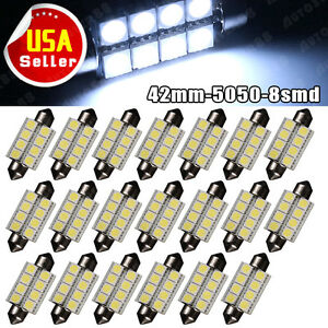 20pcs Cool White 1 72 42mm 8smd 5050 Festoon Led Interior License Light Bulbs