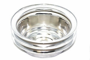 Sbc Chrome Steel Crank Pulley Double 2 Groove For Long Water Pump Lwp 327 350
