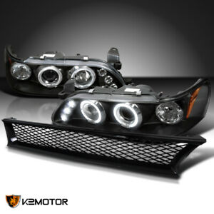 For 93 97 Toyota Corolla Black Led Halo Projector Headlights Mesh Hood Grille