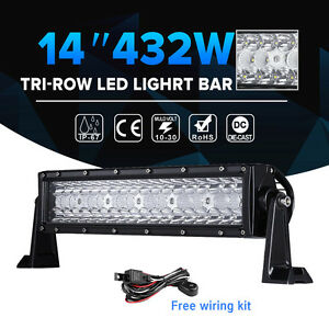 Tri Row 14inch 432w Cree Led Light Bar Spot Flood Combo Beam Car Boat 4wd 12 15