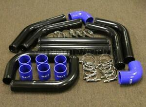 Rdt 8 Pieces 2 5 Universal Black Aluminum Intercooler Piping Blue Coupler Kit