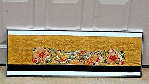 Antique 19c Chinese Silk Gold Embroidery Panel With A Phoenix And Flowers