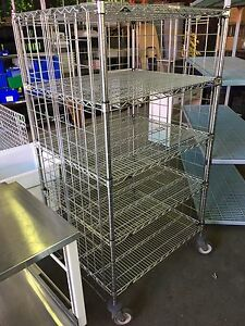 Inter Metro Stainless Steel Super erecta 5 Shelf Rolling Rack Cage Cart