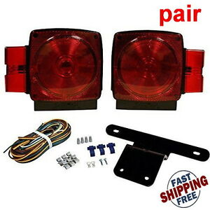 New Set Pair Led Submersible Square Lights Kit Trailer Under 80 Tail Brake Boat