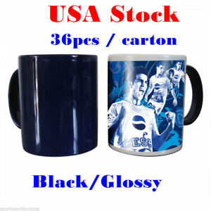 Usa 11oz Blank Sublimation Mug Magic Full Color Changing Cup black glossy