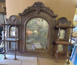 Vintage Very Old Cast Iron Fireplace Over Mantle Mirror W Two Tier Shelves
