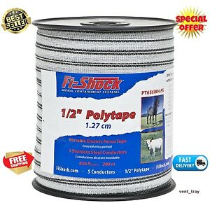 656 Ft Electric Fence Poly Tape Insulators Wire Safe System White Horse 1 2 inch