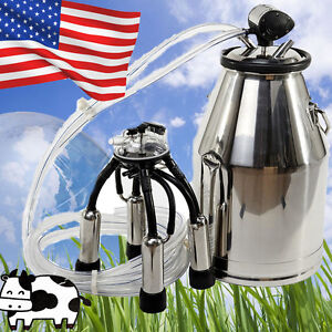 Us Portable Ss Dairy Cow Milking Machine Milker Bucket Tank Barrel For Farmer Ce