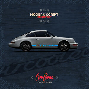 Aircooled Modern Script Side Decals Porsche 911 930 964 Stickers Stripes Livery