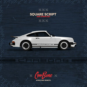 Carbone Square Script Side Decals Porsche 911 930 964 Stickers Stripes Livery