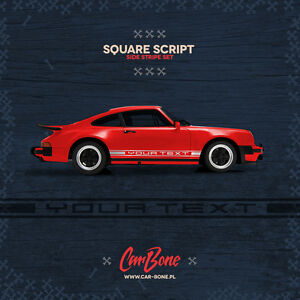 Your Text Square Script Side Decals Porsche 911 930 964 Stickers Stripes Livery