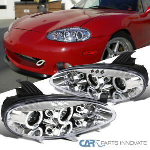 For 01 05 Mazda Miata Mx5 Replacement Clear Led Halo Projector Headlights Pair