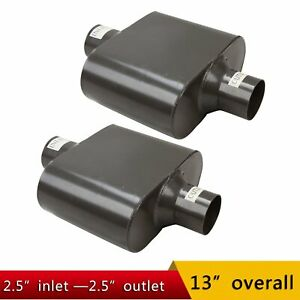 Pair Single Chamber 2 5 Center Inlet Outlet Performance Race Mufflers