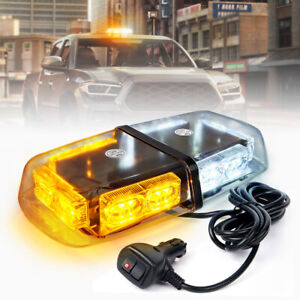 Emergency Car Rooftop Magnetic Mount Led Strobe 12 Mini Lights Bar White Amber