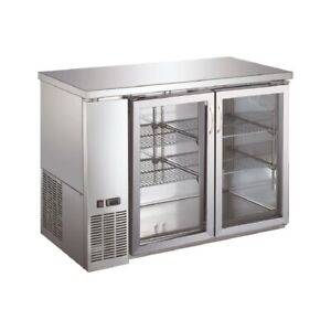 Double Glass Door Commercial Back Bar Cooler Stainless Steel 48