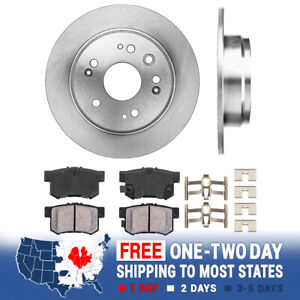 Rear Brake Rotors Ceramic Pads Clips 2002 2003 2004 Honda Crv