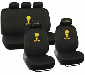 New Set Cartoon Tweety Bird Car Front Back Full Seat Covers Headrest Covers