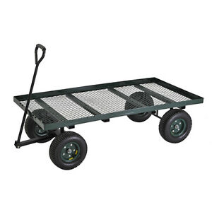 Green Heavy Duty Wheeled Rolling Steel Flat Wagon Garden Tool Yard Utility Cart