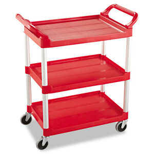 Heavy Duty Plastic Wheeled Rolling Moving Audio Video Shelf Service Utility Cart