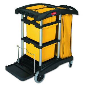 Black Plastic Wheeled Rolling Housekeeping Cleaning Cart Storage Bin Bag Caddies