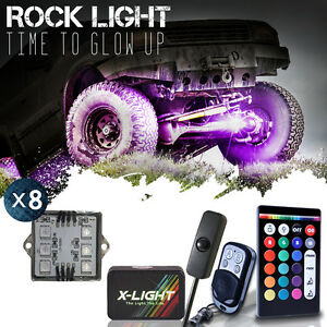 8pcs Rgb Led Multi color Offroad Rock Lights Pod With Music Flashing Brake Mode