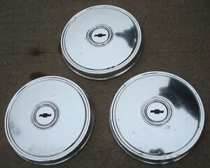 1975 1980 Chevy Dog Dish Hubcaps Lot Of 3 Black Poverty Hubcaps 9 1 2