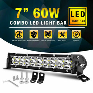 7inch Dual Row Led Work Light Bar Flood Spot Combo Fog Lamp Offroad Driving