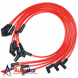 Red Hei Spark Plug Wires Spiral Core 45 Degree End For Bbc Chevy 396 427 454 502