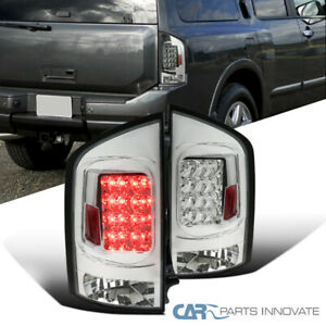 For 05 15 Nissan Armada Suv Clear Led Tail Lights Parking Brake Rear Lamps Pair