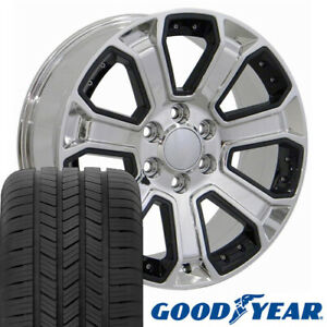 20 Rims Tires Fit Gm Chevy Sierra Silverado Chrome W Blk Gy 5661