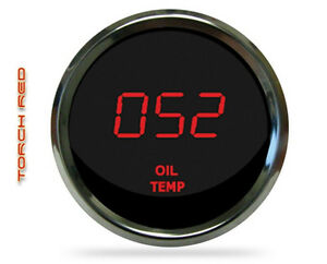 Universal Digital Oil Temperature Gauge Red Leds Chrome Bezel Lifetime Warranty
