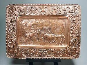 Large Antique Copper Repousse Tray Gothic Figures Spanish Conquistadors 19 X 14