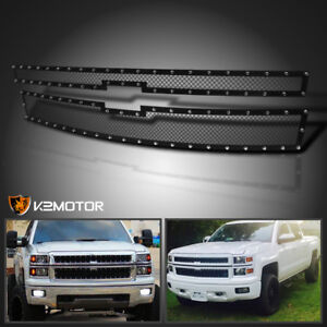 For 2014 2015 Chevy Silverado 1500 Rivet Mesh Black Upper Main Grille Inserts