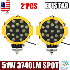 2x Round 7inch 51w Led Work Light 4x4 Jeep Front Bumper Fog Driving Lamp Yellow