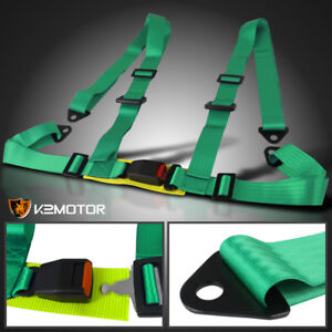 Green Racing Seat Belt Buckle 4pt 4 Point Nylon Shoulder Strap Safety Harness