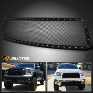 For 2010 2013 Toyota Tundra Rivet Stud Black Textured Mesh Upper Grille Insert