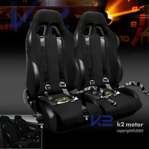 2 X Reclinable Racing Seats Black W 4 Point Safety Harness Belt Belts