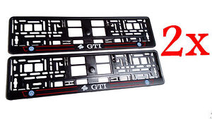 2x Black Vw Volkswagen Gti European Euro License Number Plate Holder Frame