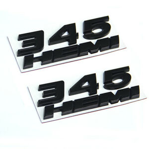 2set Oem Black 345 Hemi Emblem 345hemi Badge 3d For Dodge Challenger L Ram