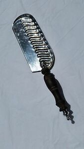 Vintage Continental Heavy Silverplated Crumber With Turned Wood Handle