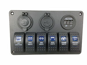 Pactrade Car Rv Truck 6 Gang Blue Led Switch Panel Usb Charger Voltmeter Power