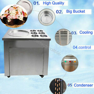 Commercial Fried Ice Cream Machine Ice Crean Roll Making Machine 1 Pan 6 Boxes
