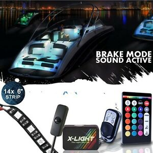 Color Changing Neon Accent Boat Marine Deck Led Glow Lights Strip Kit W Switch