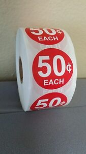 Red 50 Cents Self adhesive Price Labels 1 1 2 Stickers Vending 1000 Per Roll