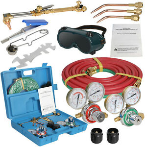 Oxygen Acetylene Weld Welding Cutting Torch Kit W gauges Goggles Hoses
