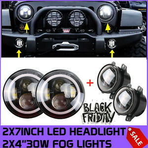 2x Rgb Halo Ring 7 40w Led Headlights 2x 4 30w Fog Light For Jeep Wrangler Jk