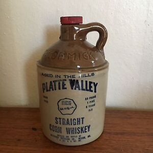 Antique Original Mccormick Stoneware Pint Jug Platte Valley Corn Whiskey Bottle