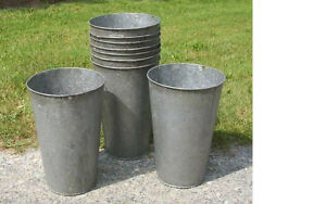 2 Vintage Old Galvanized Maple Syrup Sap Buckets Tapered Nice W W