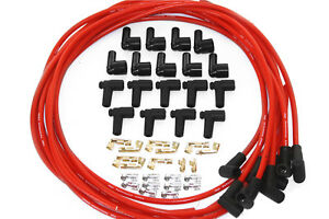 Universal 8 5mm 90 Degree Red Spark Plug Wires W Male Female Ends Sbc Bbc