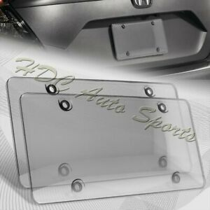 2 X Tinted Clear smoke Protector License Plate Frame Shield Cover Front Rear